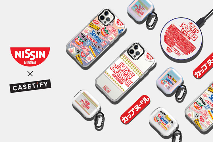 カップヌードルデザインのiPhoneケース、iPodsケースが近々発売開始。カップヌードルのロゴのフォントで名入れもできる!