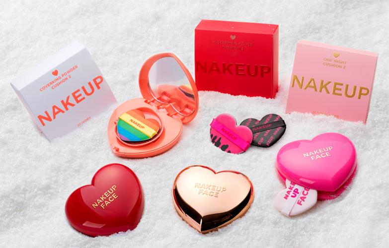 パフまでかわいいなんてズルイ。新顔韓国コスメ「NAKEUP FACE」のハート型クッションファンデがQoo10で20%OFFで買える!